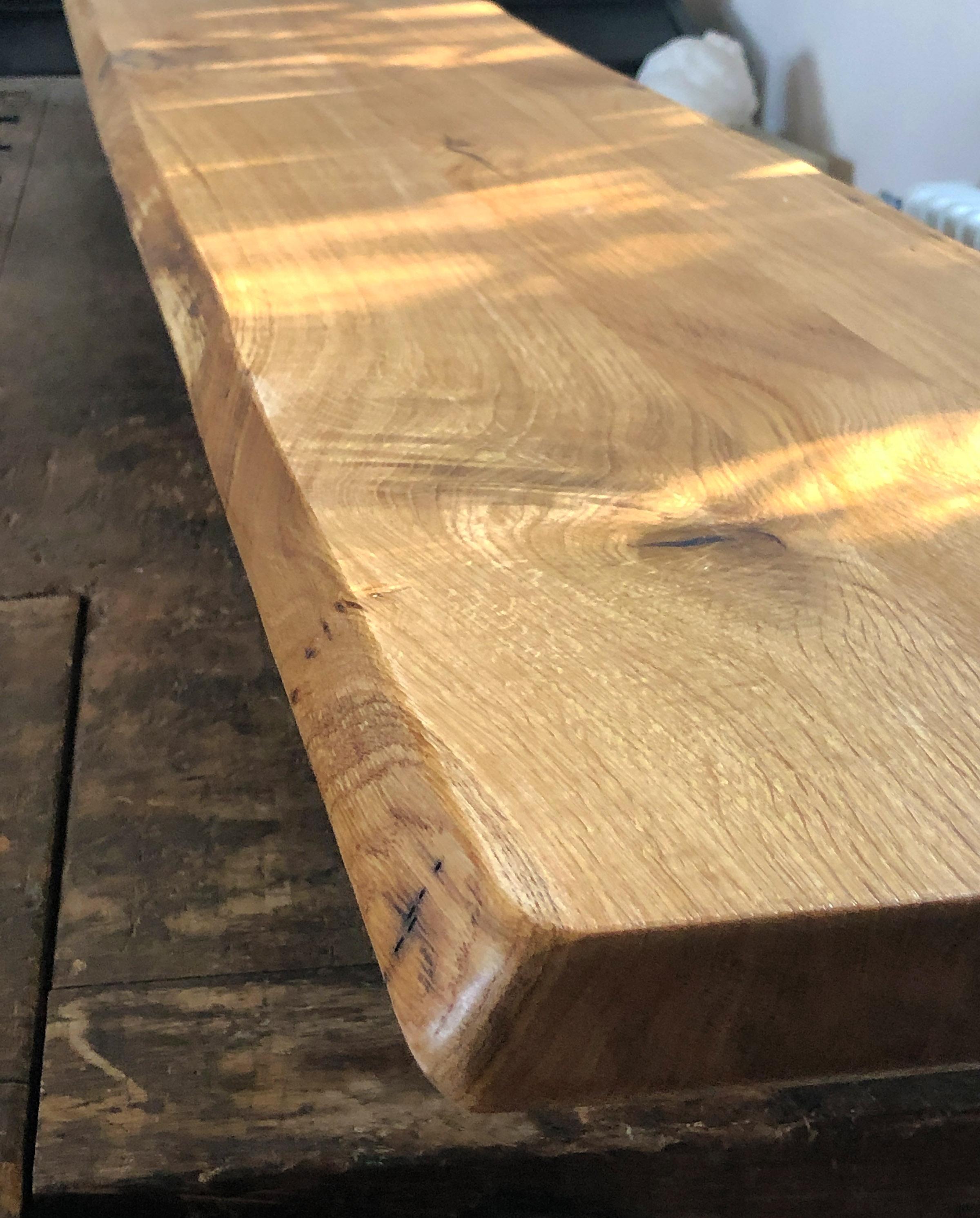 Thekenplatte, Tisch oder Tresen fürs Büro oder Sitzbank aus Eiche, massiv, Wildeiche mit Baumkante bzw. Naturkante, geölt